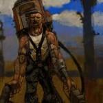 """Provável trabalho artístico de Chris Applehans para o Van Buren. Um viajante das wastes com uma espécie """"altamente tecnológica"""" de uma lança-chamas."""